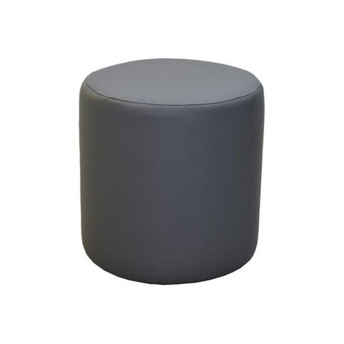 pouf rond gris cliffhanger couleur unique declikdeco la redoute. Black Bedroom Furniture Sets. Home Design Ideas