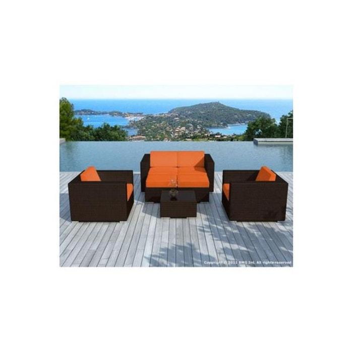 Salon de jardin chocolat avec housse orange amin orange Declikdeco ...