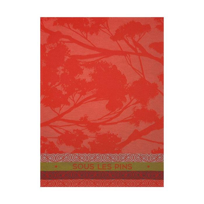 Torchon sous les pins rouge 70x50 100 coton rouge le jacquard francais la - Torchon jacquard francais ...