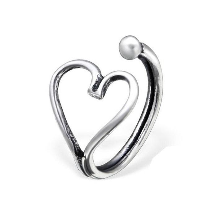 piercing nez coeur anneau nasal argent 925 couleur unique so chic bijoux la redoute. Black Bedroom Furniture Sets. Home Design Ideas