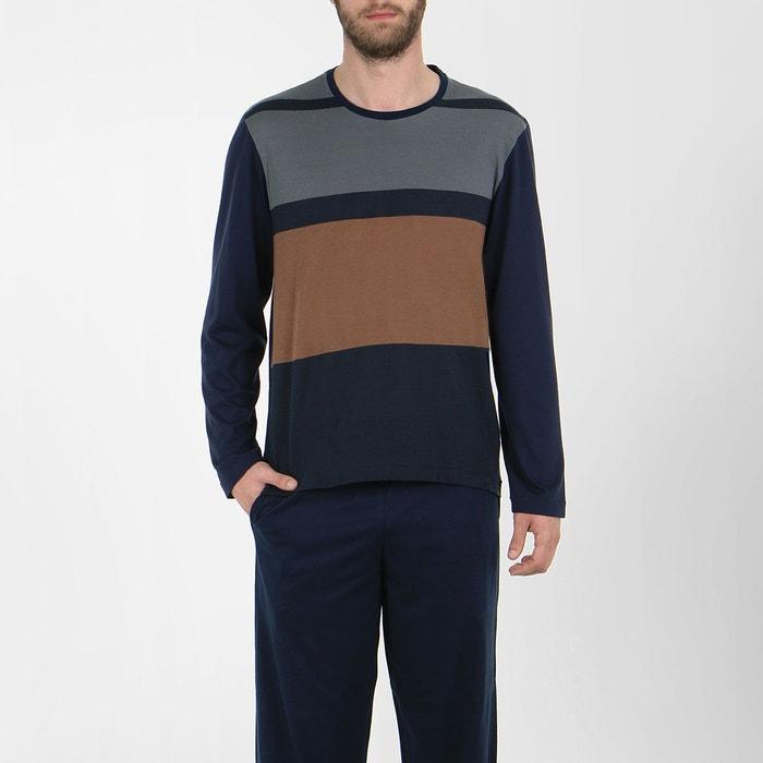 pyjama homme long baroudeur rayures placees marine eminence la redoute. Black Bedroom Furniture Sets. Home Design Ideas
