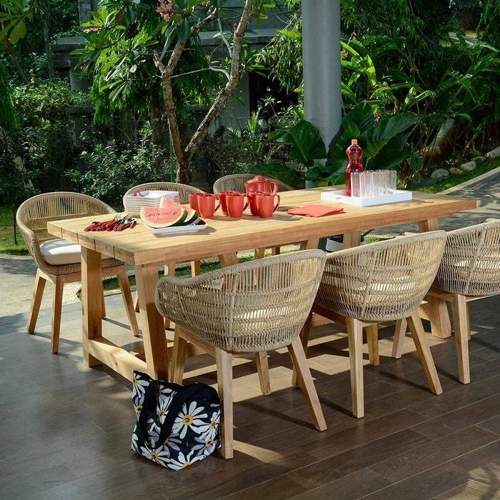 Salon de jardin en teck effet recyclé, chaumont 250 naturel Teck ...