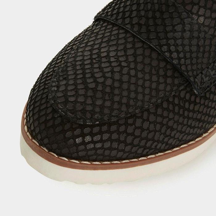 Mocassins à plateformes à enfiler pour pieds larges - wf gessie noir cuir Dune London