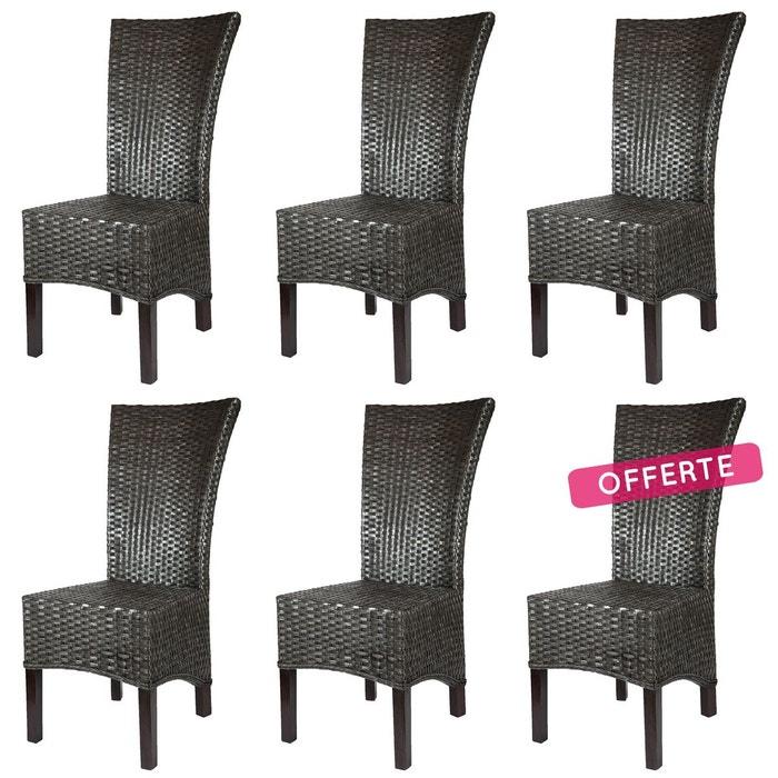 Lot de 6 chaises alma en rotin noir rotin design la redoute - Chaises la redoute soldes ...