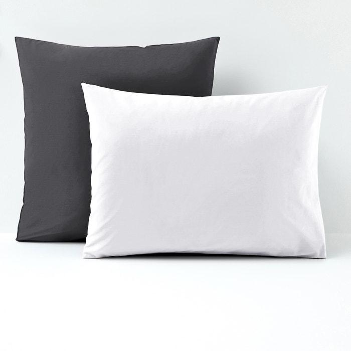 Image Taie d'oreiller bicolore, percale coton La Redoute Interieurs