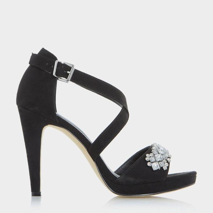 Sandales à talons hauts avec bride de cheville ornée de bijoux fantaisie - maisy noir micro fibre Head Over Heels By Dune