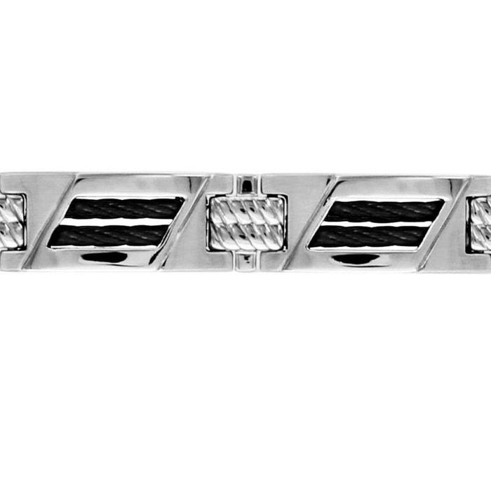 Bracelet longueur réglable: 20 à 21,5 cm câble noir réglable acier inoxydable couleur unique So Chic Bijoux   La Redoute