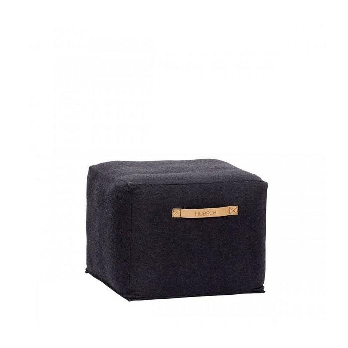 pouf design carr noir en laine bouillie 45cm 35cm noir wadiga la redoute. Black Bedroom Furniture Sets. Home Design Ideas
