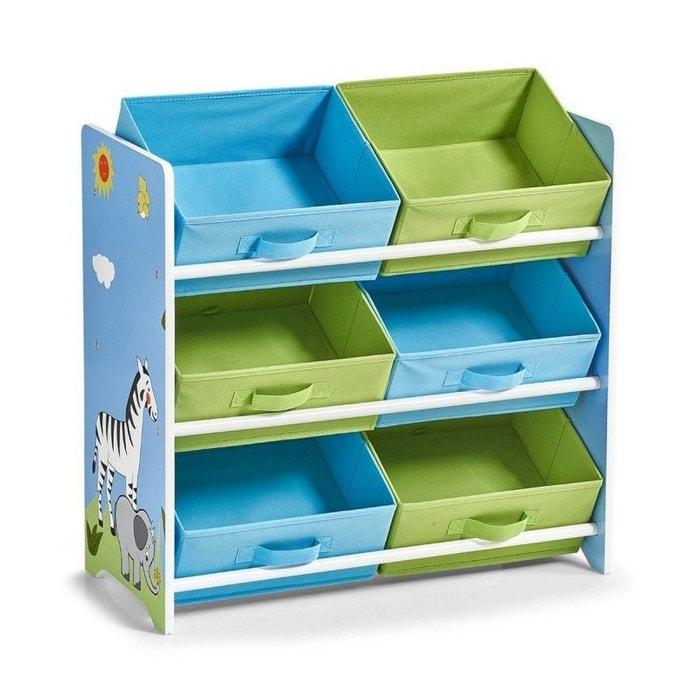 Étagère enfant rangement jouets 6 casiers safari bleu Zeller Present | La Redoute