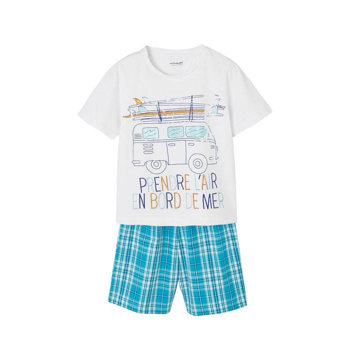 d52a2cbf5baf2 Pyjashort garçon bi-matière carreaux turquoise fonce Vertbaudet