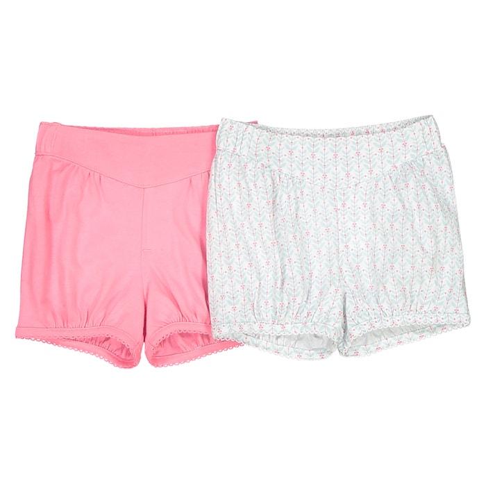 Lote de 2 shorts de algodón, 1 mes - 3 años Oeko Tex  La Redoute Collections image 0