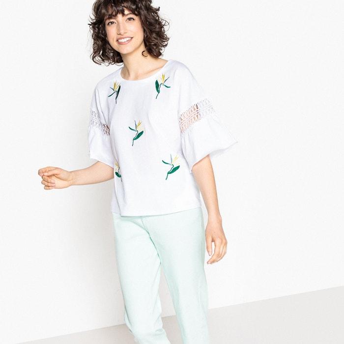 por bordada La cuello con los redondo codos manga Camiseta Collections Redoute t6a6Wgq81