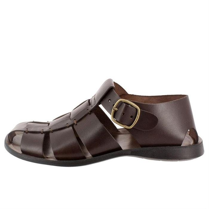 Sandales  /  nu-pieds cuir  noir Zeus  La Redoute