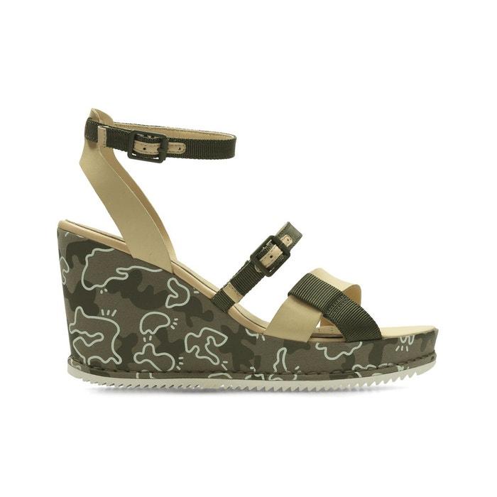Sandales cuir compensées adesha art vert kaki Clarks Jeu Énorme Surprise p8zTy55