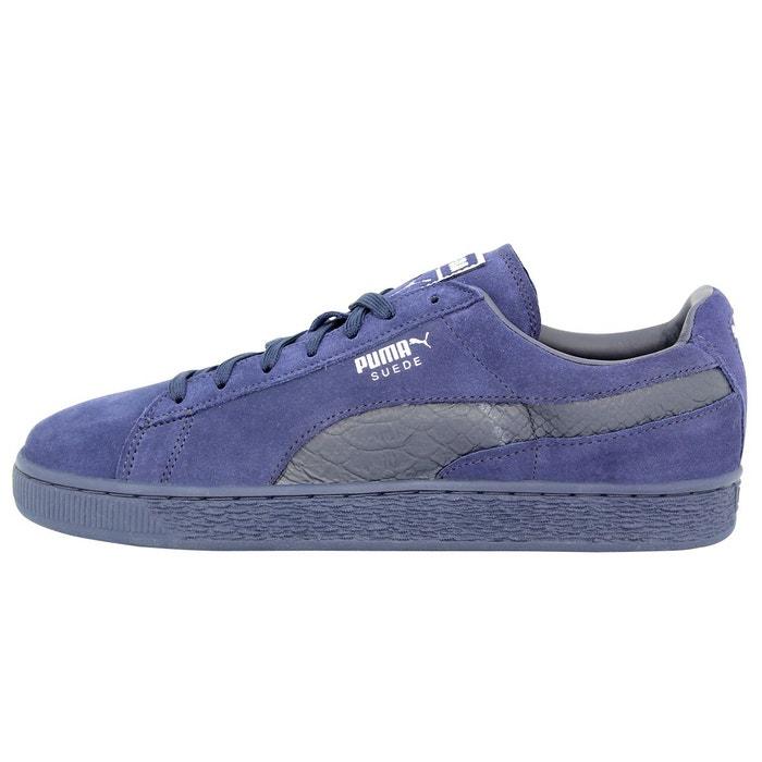 Puma suede classic mono reptile-u chaussures mode sneakers homme cuir suede bleu bleu Puma