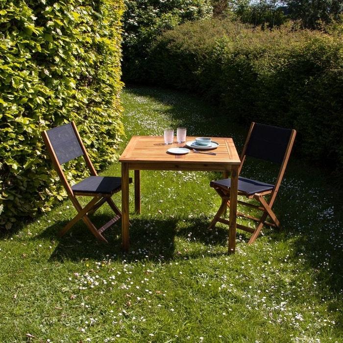 Salon de jardin carré en bois d\'acacia fsc noir 2 places acacia Bois ...