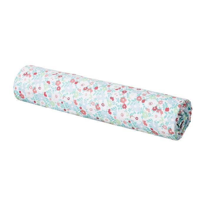 drap housse enfant imprim fleuri 100 coton vert et corail vert corail blanc cerise la. Black Bedroom Furniture Sets. Home Design Ideas