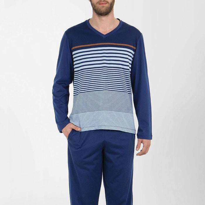 pyjama homme long swing rayures marine ciel tabac eminence la redoute. Black Bedroom Furniture Sets. Home Design Ideas