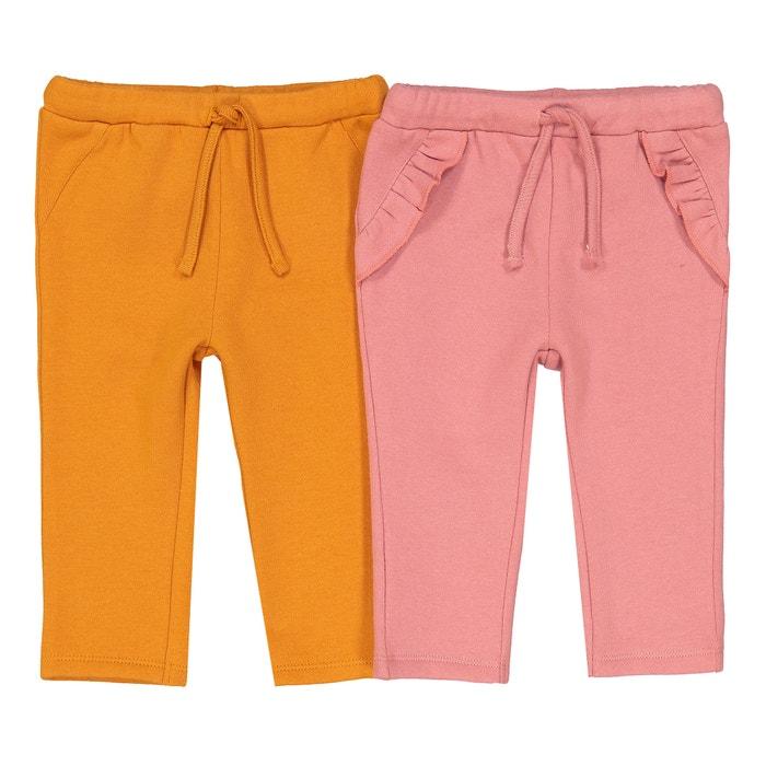 Confezione da 2 pantaloni in felpa tinta unita 1 mese - 3 anni  La Redoute Collections image 0