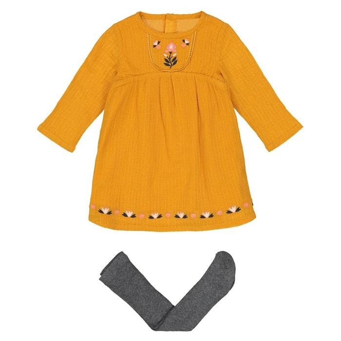 0892e368ddb1e Ensemble 2 pièces robe + collants 1 mois - 3 ans jaune curry + gris La  Redoute Collections
