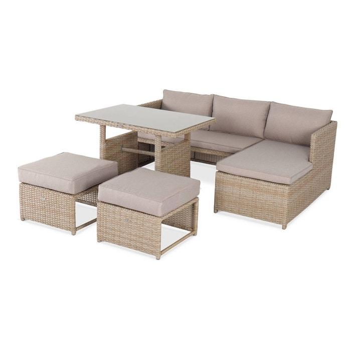 Salon de jardin 6 places - Reggiano - Table de jardin avec canapé,  méridienne et 2 poufs encastrables