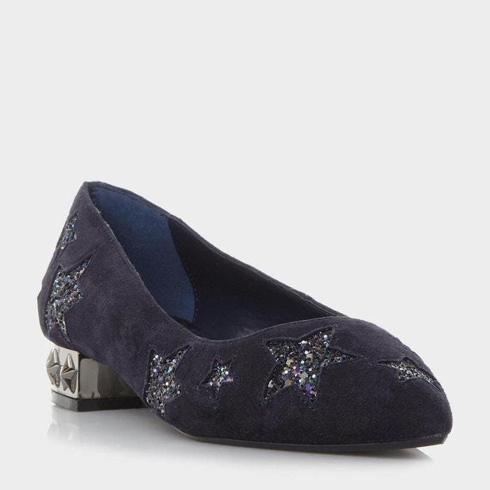 Chaussures plates à bout pointu avec étoiles - haley  bleu marine daim Dune London  La Redoute