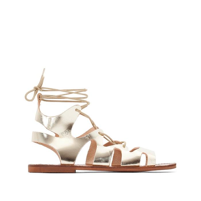 Sandales plates, cuir coloris doré, Alix  JONAK image 0