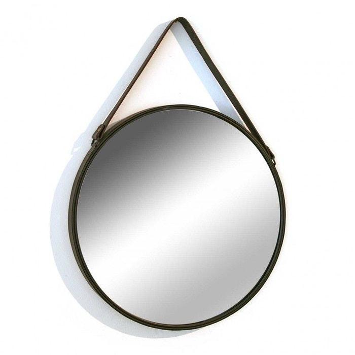 miroir mural rond avec anse en simili cuir versa d 50 cm. Black Bedroom Furniture Sets. Home Design Ideas