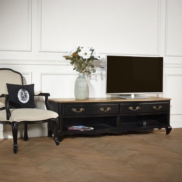 meuble tv savoy 2 niches 2 tiroirs noir patine. Black Bedroom Furniture Sets. Home Design Ideas