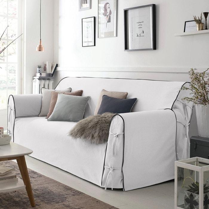 housse de canap bridgy gris perle blanc la redoute. Black Bedroom Furniture Sets. Home Design Ideas