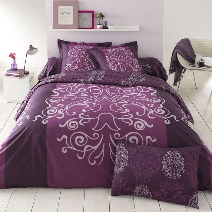 drap housse lampas en coton prune prune cotonflor la redoute. Black Bedroom Furniture Sets. Home Design Ideas