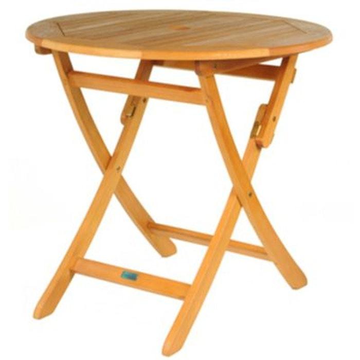 table ronde pliante look teck couleur unique proloisirs. Black Bedroom Furniture Sets. Home Design Ideas