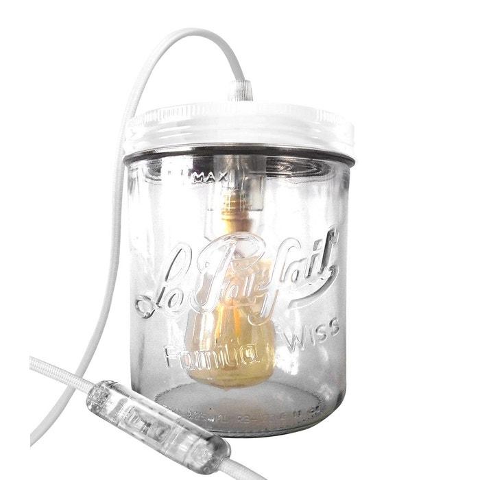 Lampe bocal à poser en verre et fil textile bocal LE PARFAIT taille L