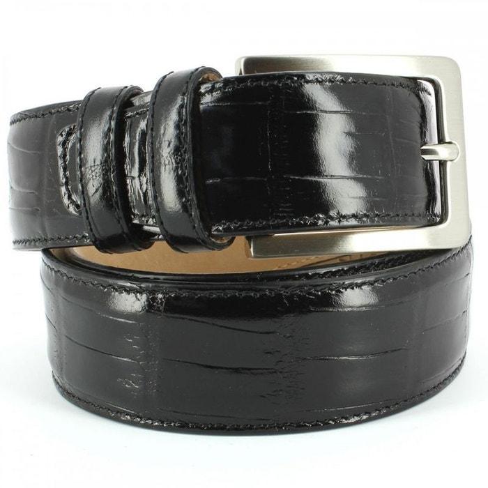 Ceinture cuir, croco, 35mm, noir, bords surpiqués noir Robert Charles | La Redoute