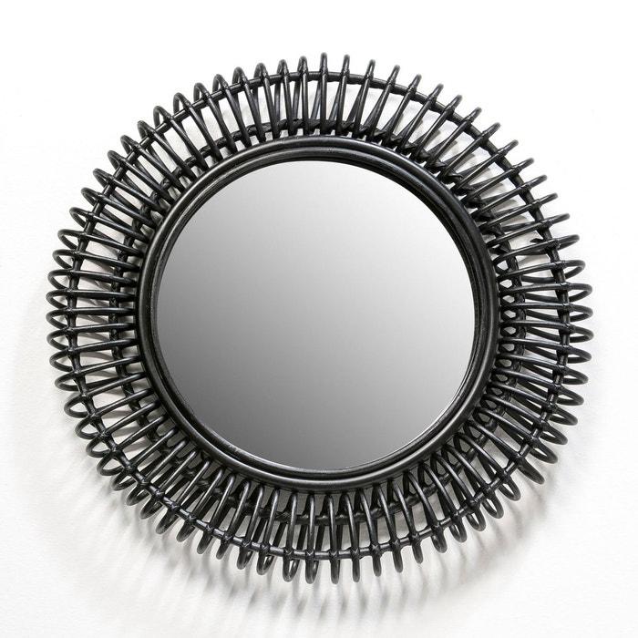 Miroir rotin tarsile rond 60 cm noir fonc am pm la for Miroir rotin noir