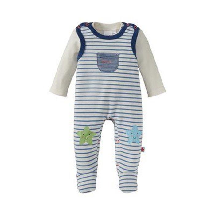 Bornino ensemble grenouillère bébé ensemble bébé écru bleu Bornino ... 95fdd49bba5