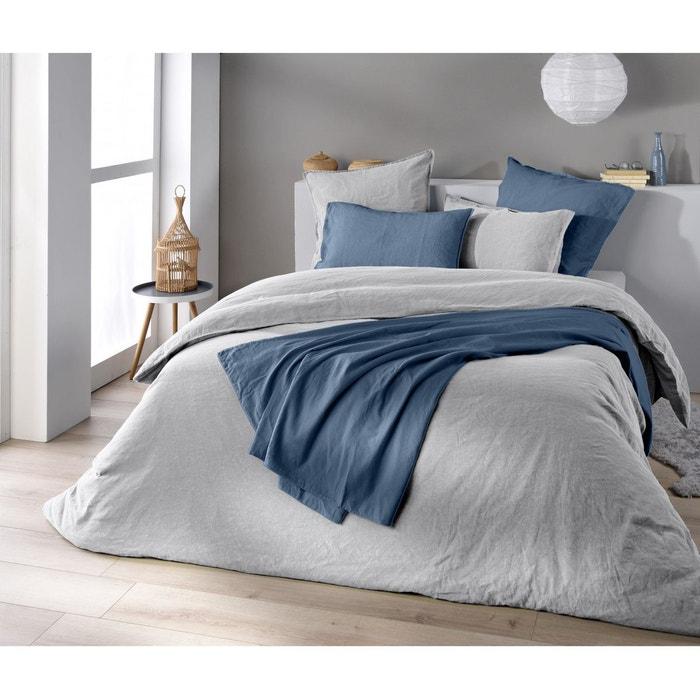 housse de couette lin et coton galet gris baton rouge la redoute. Black Bedroom Furniture Sets. Home Design Ideas