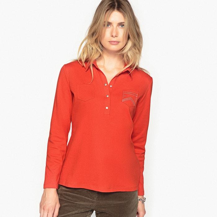 afbeelding T-shirt met polokraag, gekamd zuiver katoen ANNE WEYBURN