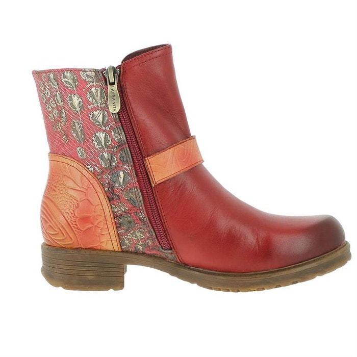 Bottines   cuir + textile  rouge Laura Vita  La Redoute