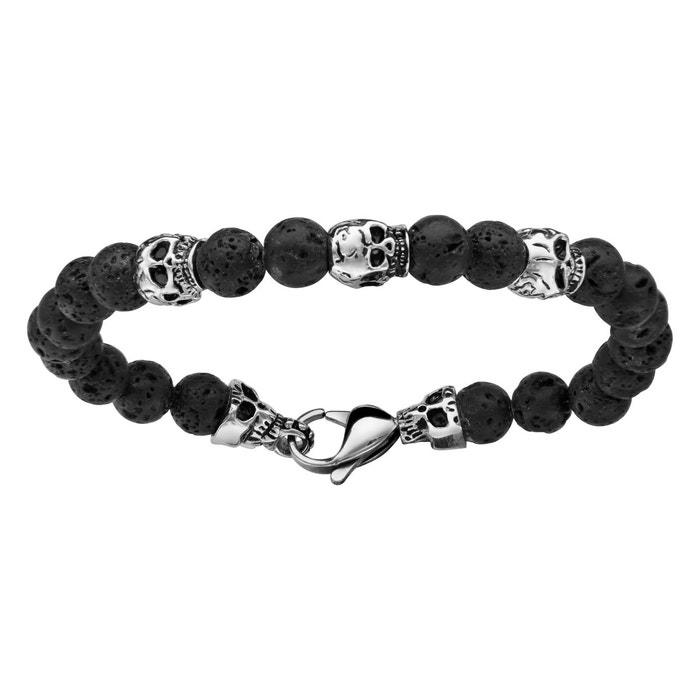Bracelet 22 cm perles noires pierre de lave 3 têtes de mort acier inoxydable couleur unique So Chic Bijoux | La Redoute