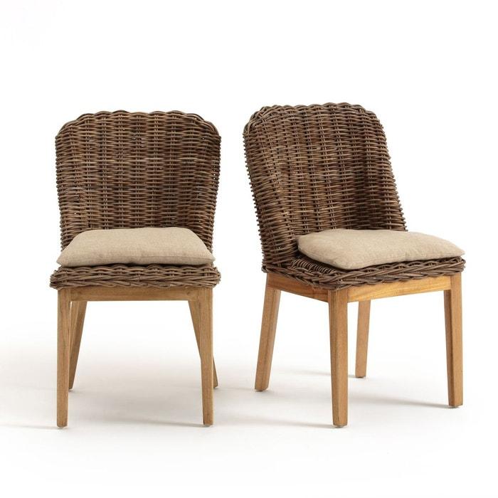 chaise kubu avec coussin lot de 2 inqaluit naturel la redoute interieurs la redoute. Black Bedroom Furniture Sets. Home Design Ideas