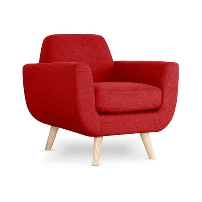 fauteuil scandinave tissu rouge trell rouge declikdeco la redoute. Black Bedroom Furniture Sets. Home Design Ideas