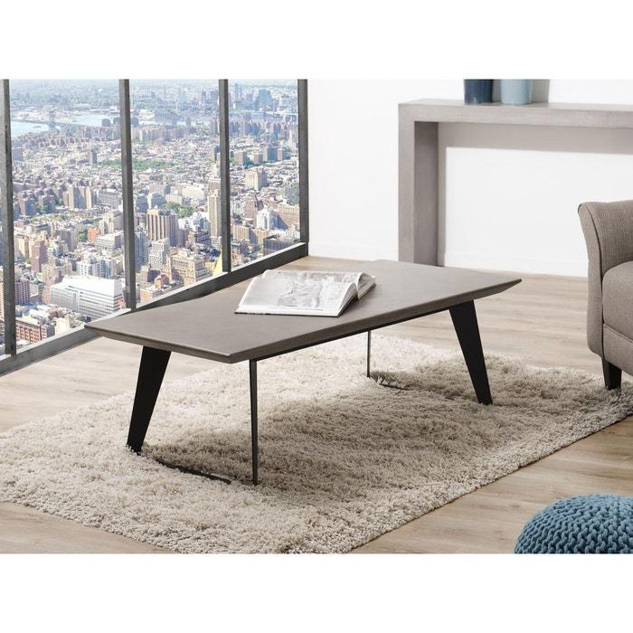 Table Basse Contemporaine Plateau Beton Gris 130x60cm Neal