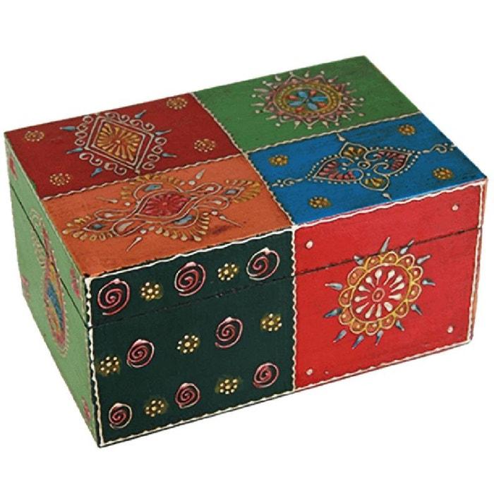 Boite multicolore en bois d coration indienne couleur for Boite a couture la redoute