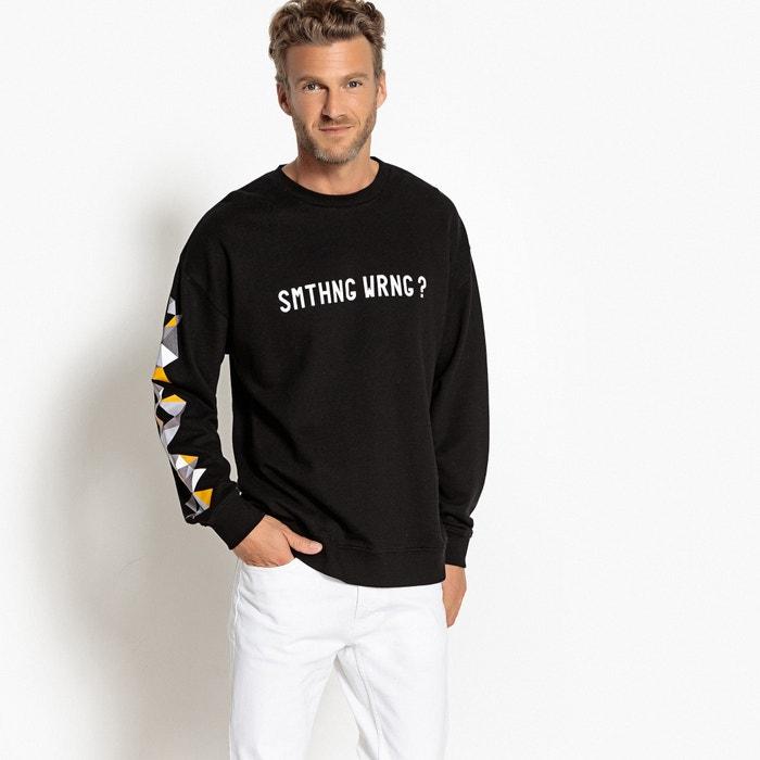 697f67e4f28 Bedrukte oversized sweater met ronde hals, wijd model zwart La Redoute  Collections | La Redoute