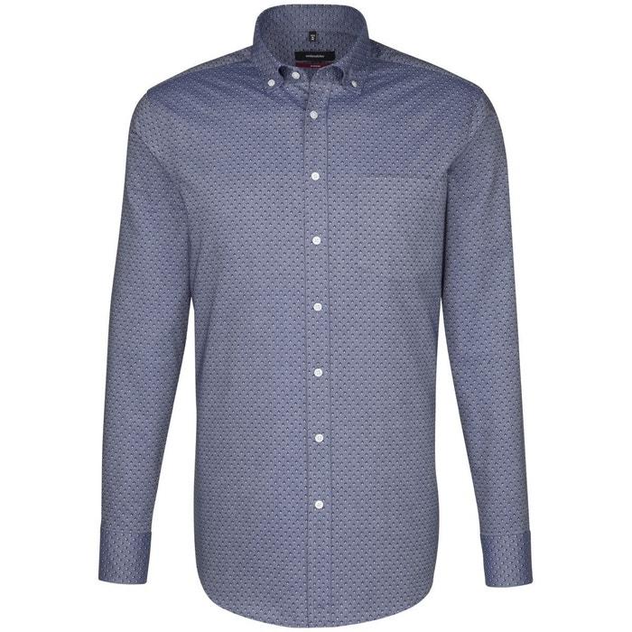 Chemise droite imprimé col boutonné bleu Seidensticker
