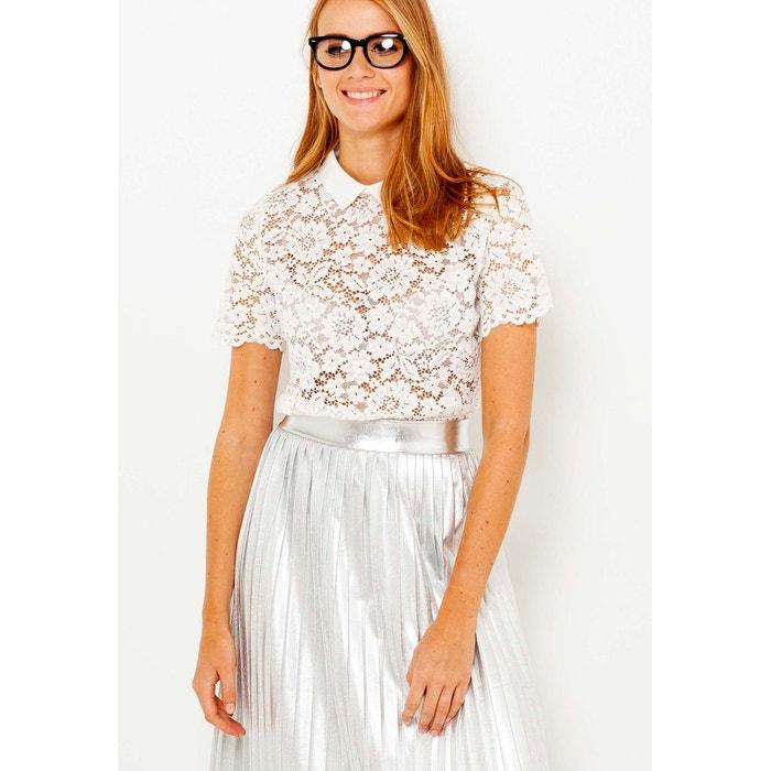 T-shirt dentelle et col chemisier Camaieu  0e365104329