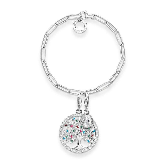 Charm bracelet tree of love, pierre blanche argenté, vert, rose, blanc, turquoise Thomas Sabo | La Redoute