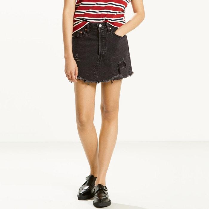 Jupe courte en jean denim, deconstructed skirt noir used Levi s   La ... 534deeeaa9de