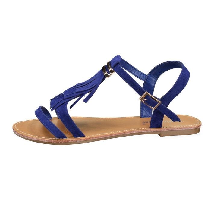 Sandales à franges bleu Leader Mode
